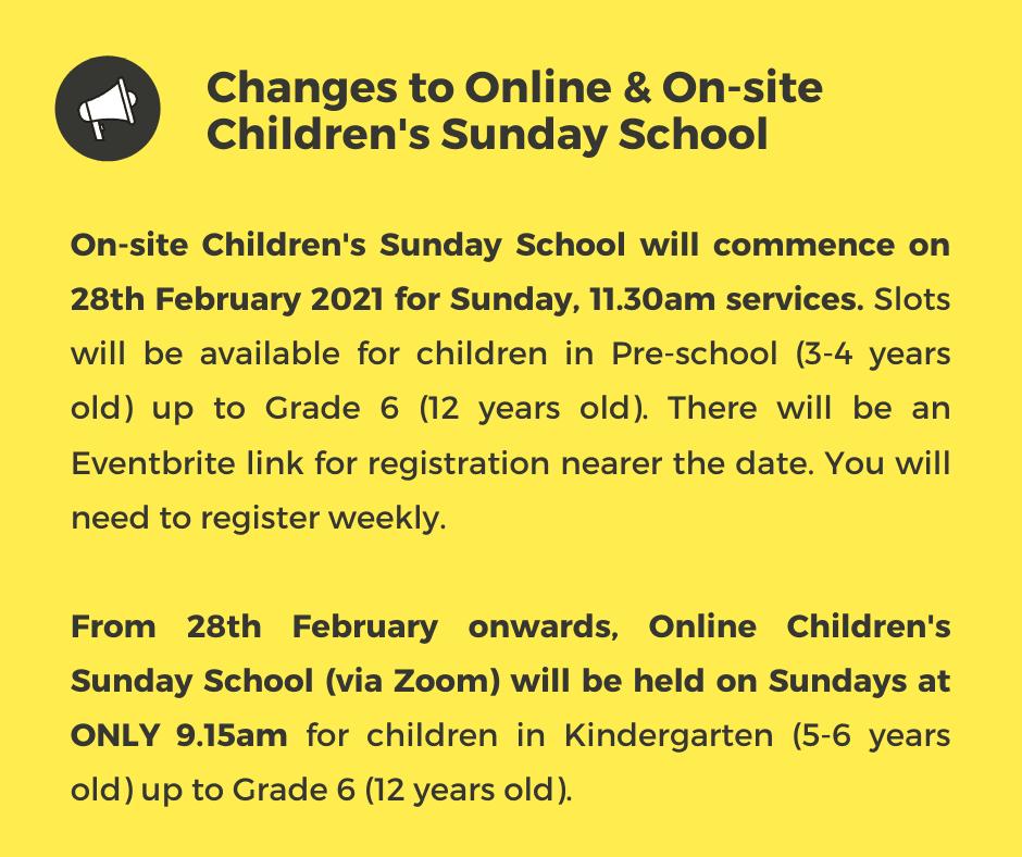 Children's Sunday School, online, on-site
