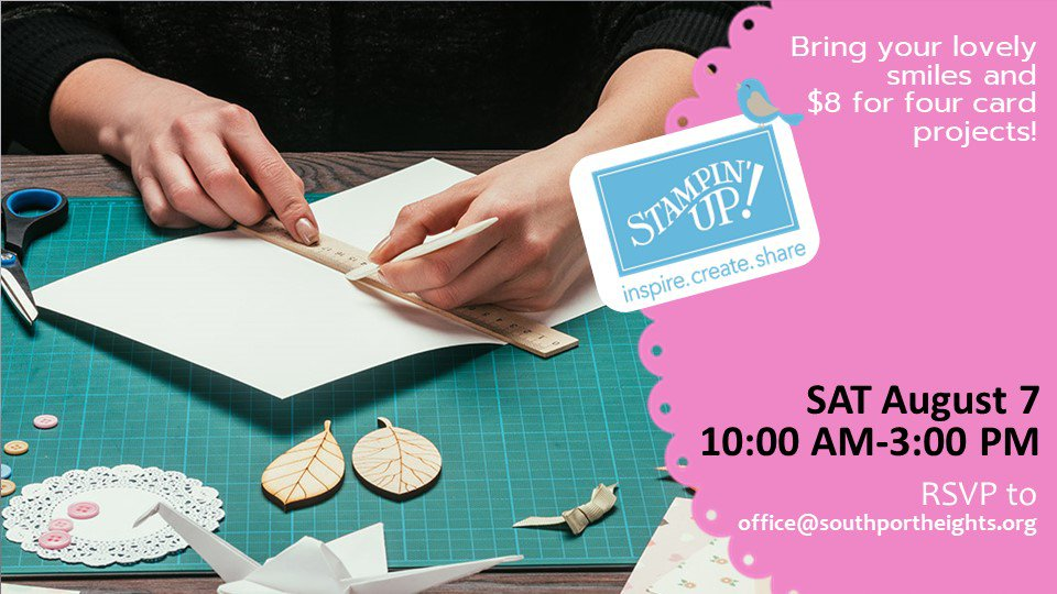 """An image of hands working on creating a craft that is a greeting card. There is a logo with the words """"Stamping Up"""" on it."""