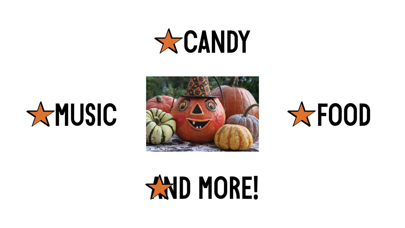 An image of a smiling pumpkin with words surrounding it. The words are food, games, music and more. Orange stars appear beside each word.