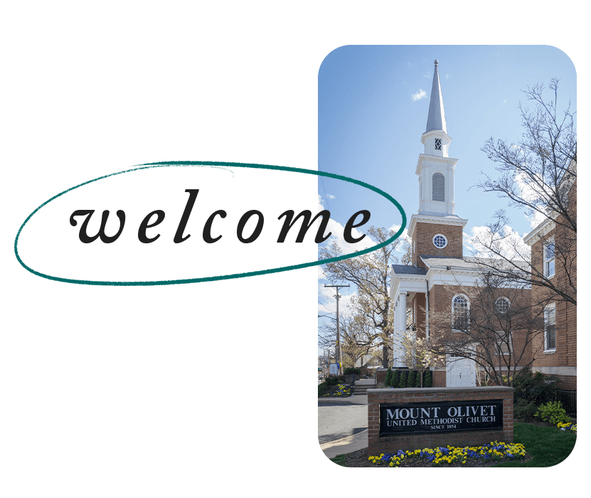 """Image of Mount Olivet from Glebe Road with the word """"Welcome"""" overlayed"""
