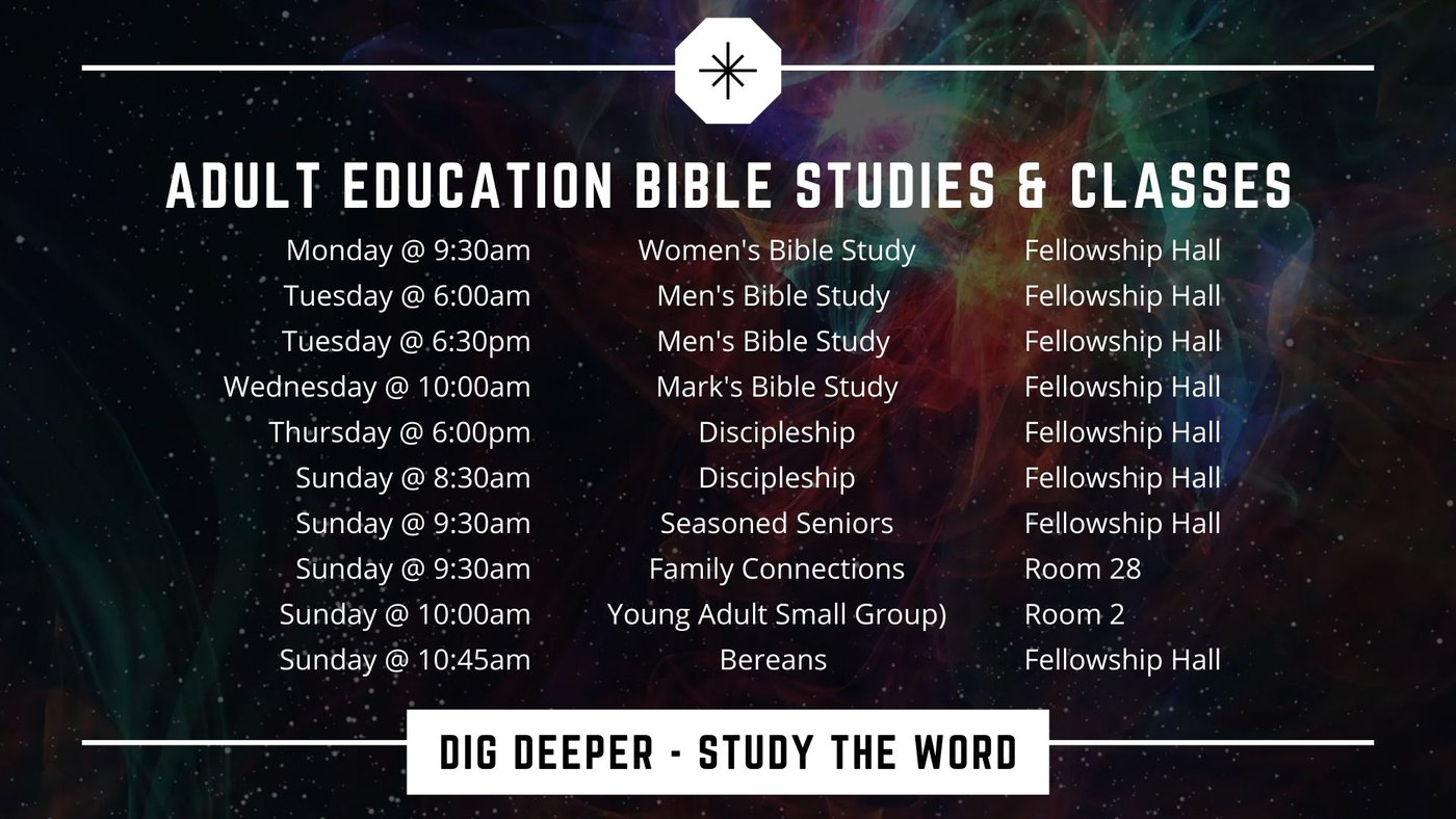 Graphic with Adult Education (Sunday School) times