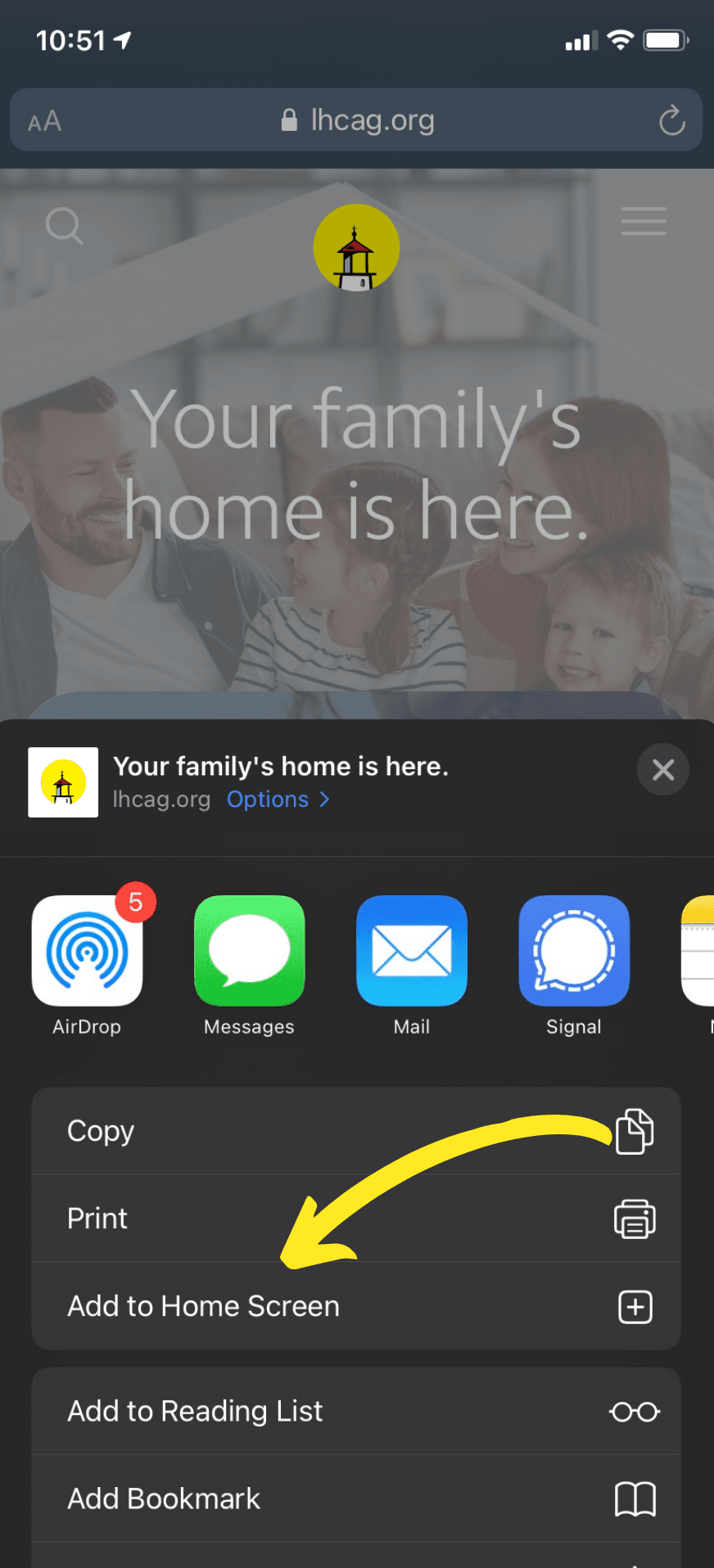 iOS Share screen with arrow pointing to the 'add a home screen' button