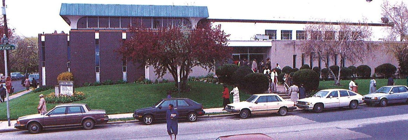 Congregants leave the former sanctuary of the New Covenant Church of Philadelphia