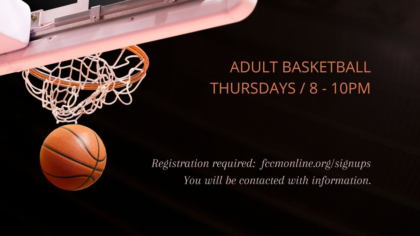 Graphic for signing up for adult basketball