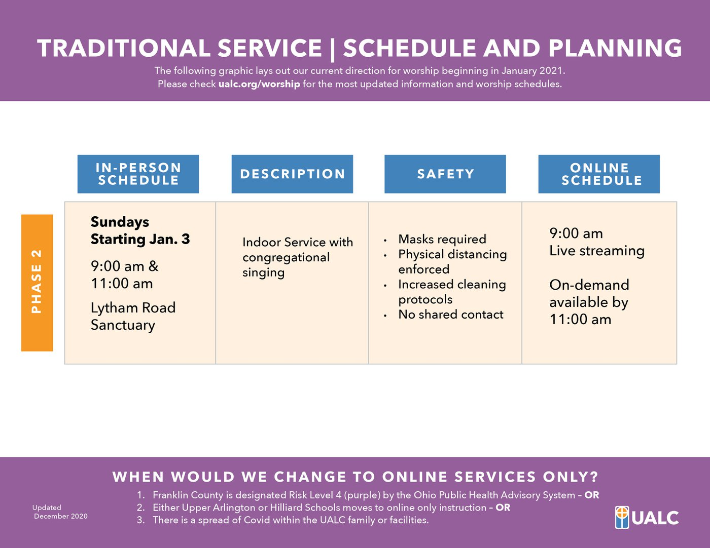 UALC 2021- Traditional Service - Phase 2 Worship Schedule