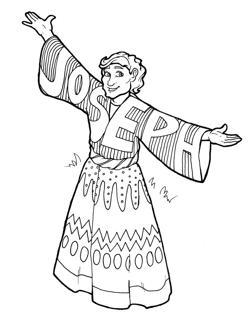 Colouring page of Joesph from Genesis in the Old Testament