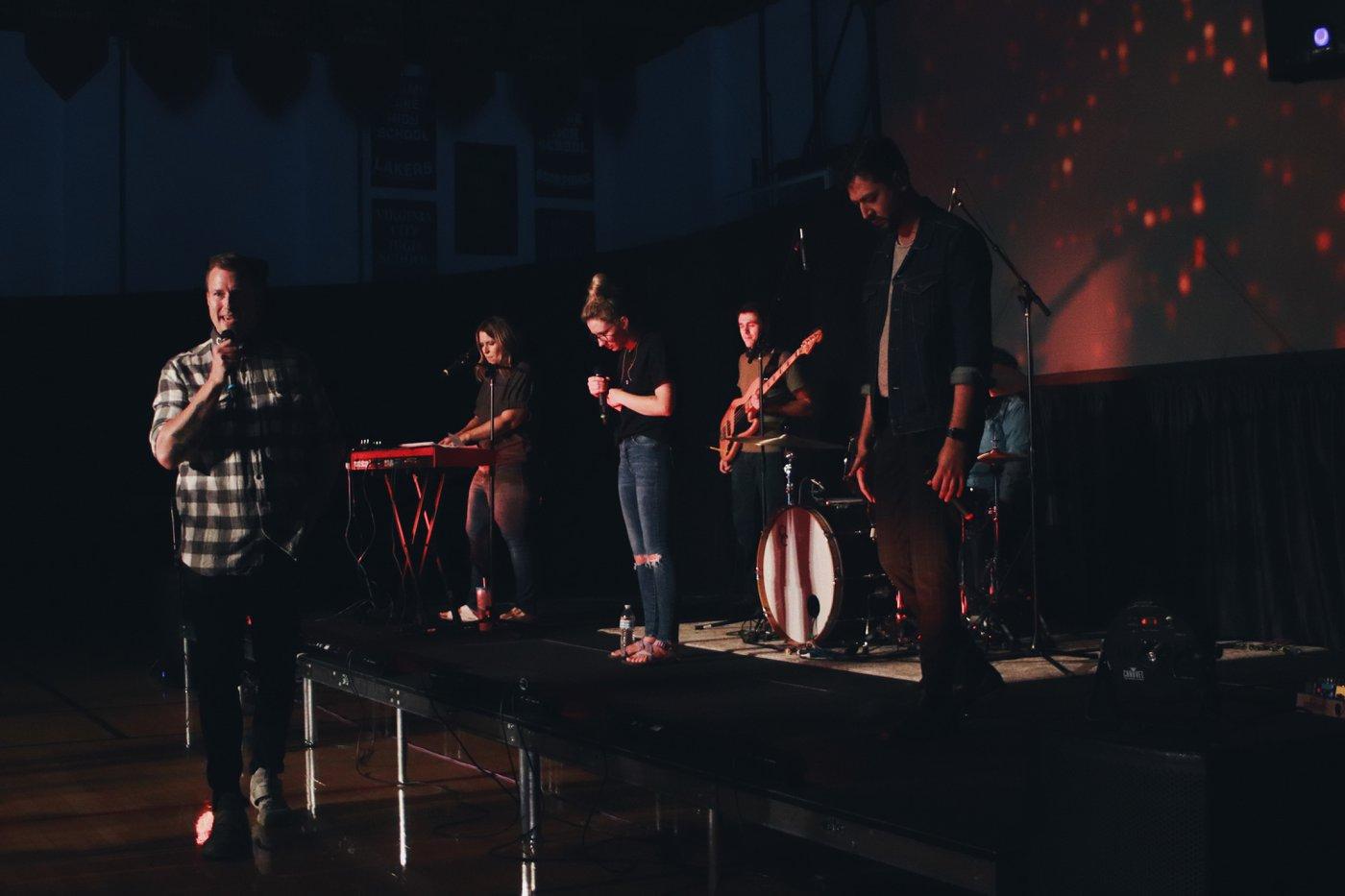 Jesus followers in worship