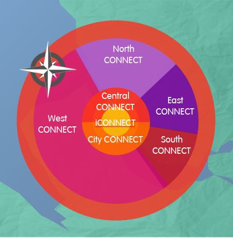 Image of Liverpool split into different geographical areas representing where each Connect group meets
