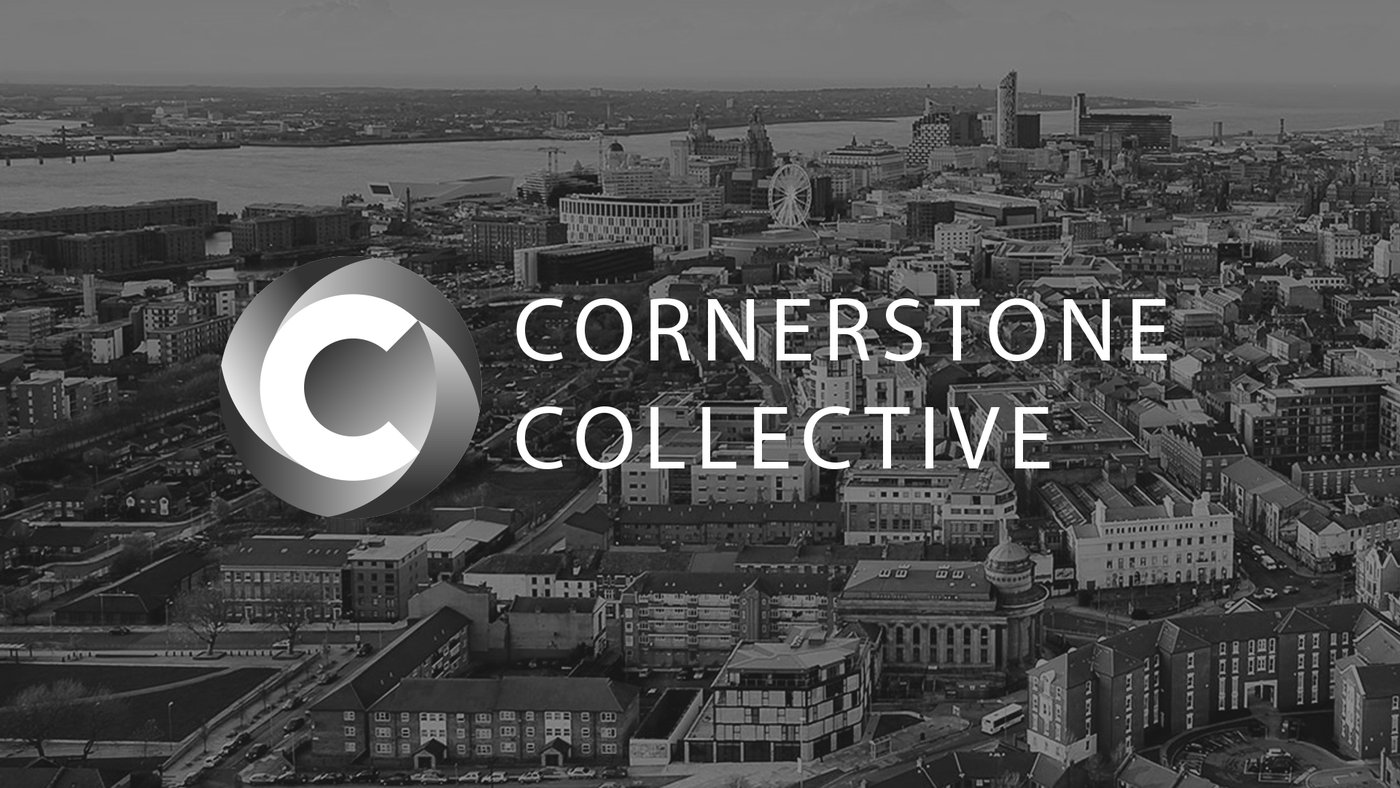 Cornerstone Collective logo over a city scape of Liverpool