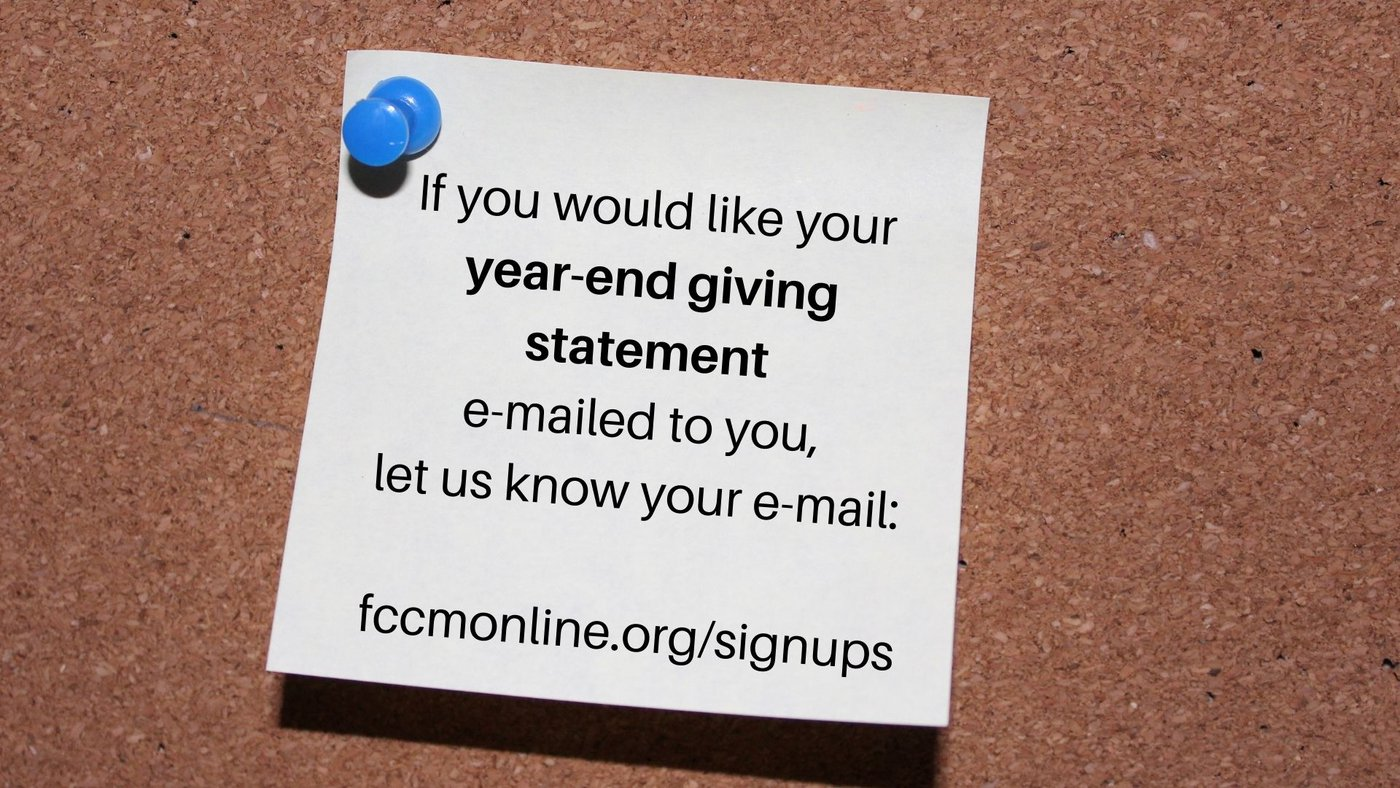 Graphic for signing up to receive end of year giving statements via email